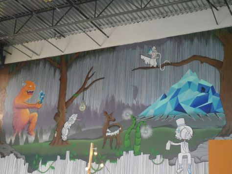 These guys are so off beat they have this bizarre yet awesome mural on the wall.
