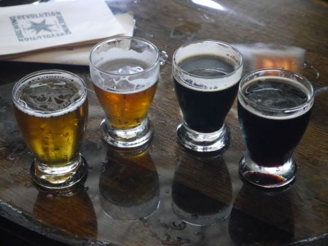 Taster flight at Revolution Brewpub.