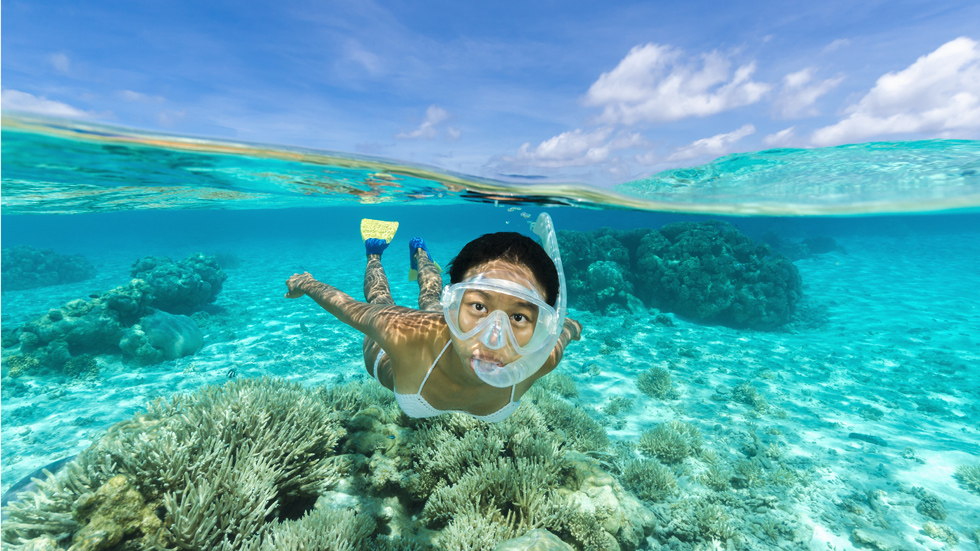 Young woman snorkelling over a coral reef