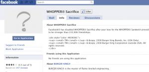 Whopper Sacrifice Ends on Facebook