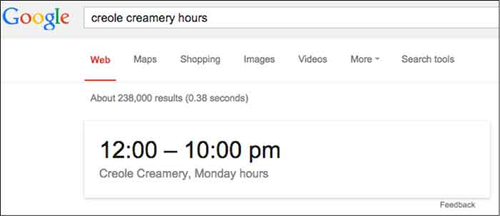 Google Answer Box Hours Of Operation Image - Search Influence