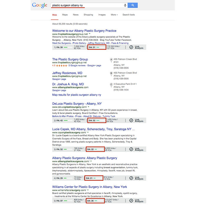 Domain Authority Search Results
