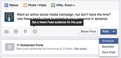 Facebook Audience Scheduled Post Image - Search Influence