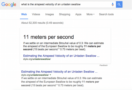 Image Of Google Rich Answer Displaying Air Velocity Of An Unladen Swallow