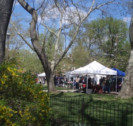 Clark Park Farmers Market in spring
