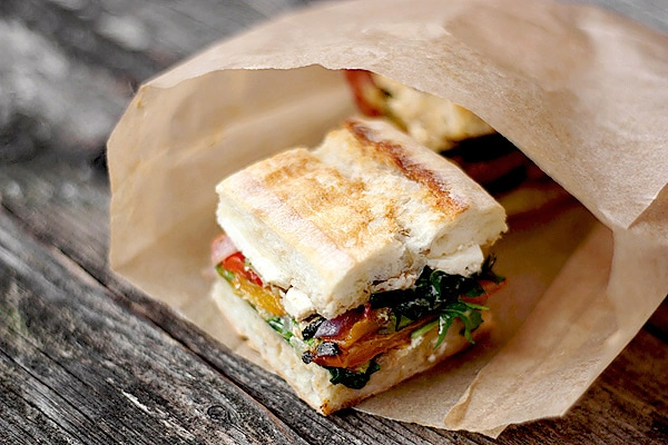 Pressed Roasted Vegetable and Goat Cheese Sandwich