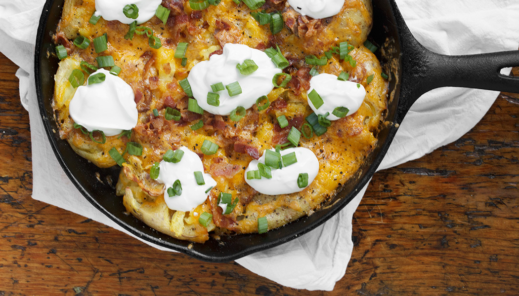Loaded Smashed Potato Skillet