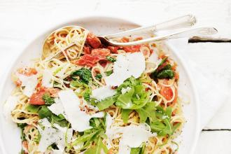 Blistered Tomato, Arugula and Mascarpone Pasta