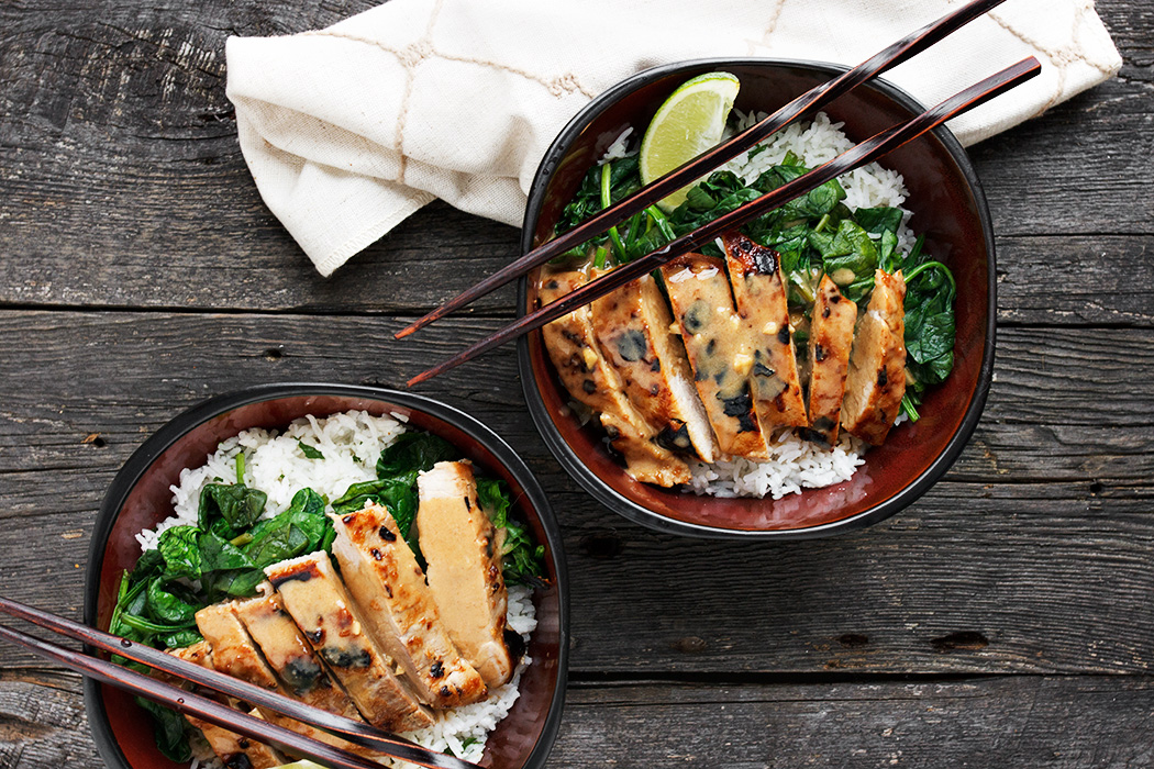 Thai Pork Rice Bowl with Peanut Sauce, Spinach and Lime Rice - Seasons ...
