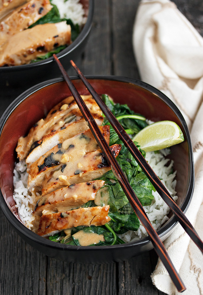 Thai Pork Rice Bowl with Peanut Sauce, Spinach and Lime ...