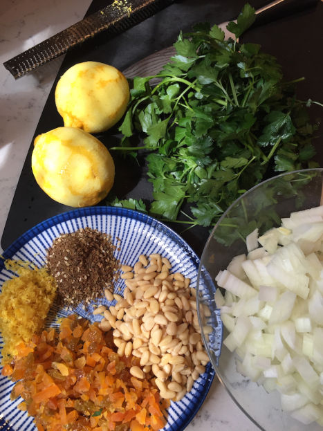 Turkey Kibbeh Meatball ingredients (A Seat at the Table)