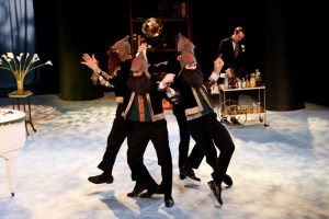 """Jonathan Crimeni, Jason Sanford, Jay Myers, and Paul Stuart disguised as Russians with Scott Ward Abernethy as Boyet in Seattle Shakespeare Company's 2013 production of """"Love's Labour's Lost."""" Photo by John Ulman."""