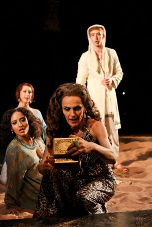 "Allison Strickland as Iras, Terri Weagant as Charmian, Amy Thone as Cleopatra and Adam Standley as Alexas in Seattle Shakespeare Company's 2012 production of ""Antony and Cleopatra."" Photo by John Ulman."