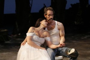 """Kelly Kitchens as Kate and David Quicksall as Petruchio in Seattle Shakespeare Company's 2013 production of """"The Taming of the Shrew"""" Photo by Chris Bennion."""