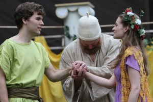 "Riley Neldam as Florizel, Jim Lapan as Old Shepherd, and Brenda Joyner as Perdita in Seattle Shakespeare Company's 2012 Wooden O production of ""The Winter's Tale."" Photo by Alan Alabastro"
