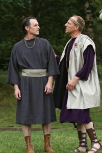 """Nick Rempel as Camillo and Michael Patten as Leontes in Seattle Shakespeare Company's 2012 Wooden O production of """"The Winter's Tale."""" Photo by Alan Alabastro"""