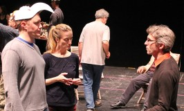 """Director George Mount talks with Matt Shimkus (Benedick) and Jennifer Lee Taylor (Beatrice) in rehearsal for """"Much Ado About Nothing."""""""