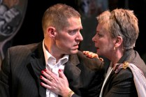 "David Drummond as Coriolanus and Therese Diekhans as Volumnia in Seattle Shakespeare Company's 2012 production of ""Coriolanus."" Photo by John Ulman."
