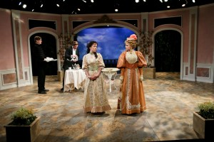Christopher James, Michael Patten, Hana Lass and Emily Grogan in The Importance of Being Earnest (2014). Photo by John Ulman.