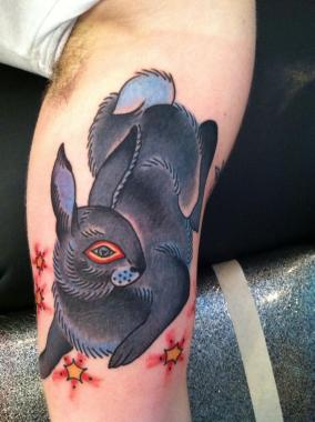 fire rabbit | rabbit tattoo, minneapolis tattoo shops, minnesota tattoo shops, minnesota tattoos, rabbit tattoo, sea wolf tattoo, traditional tattoos