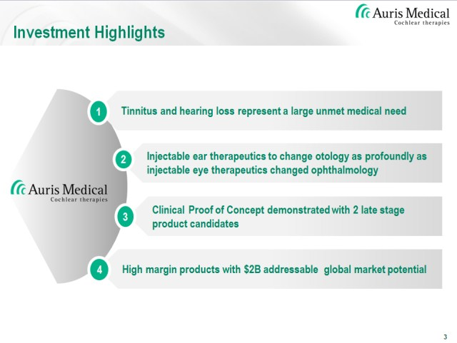 The company's first two targets are stroke and tinnitus 3