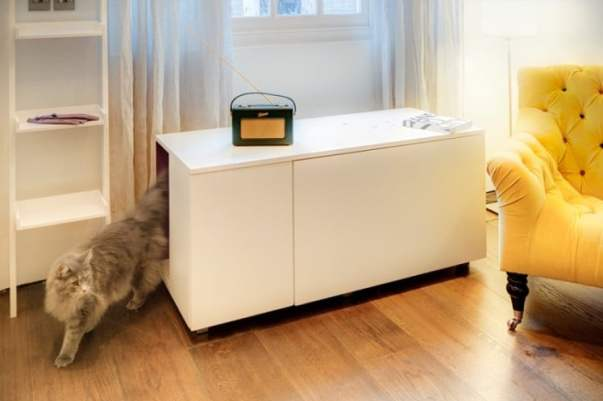 Cat litter box that is also a coffee table