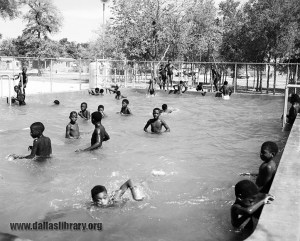 Children swim at the Hampton Road Negro children's swimming pool in August 1955. (From the collections of the Dallas History & Archives Division, Dallas Public Library)