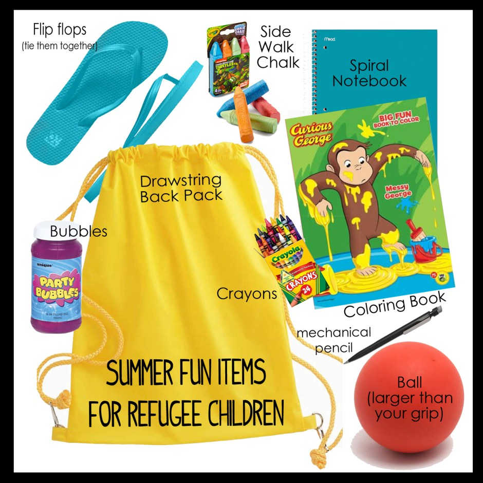 items needed for refugee children summer fun kits