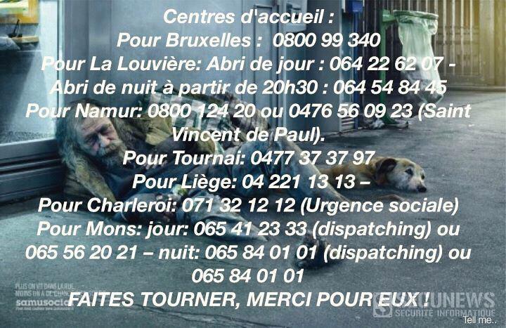 Quelques numéros utiles si vous voyez un SDF qui a besoin d'aide (Belgique)