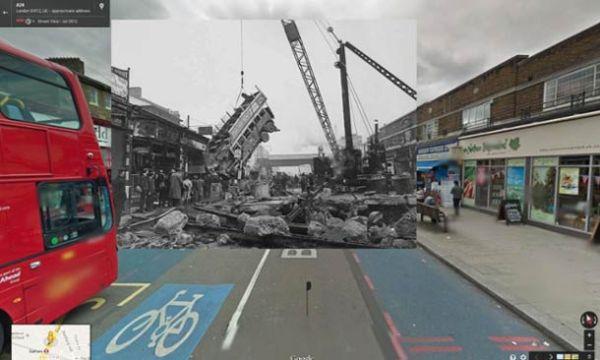 Fotos da Segunda Guerra mundial sobrepondo imagens do Google Street View
