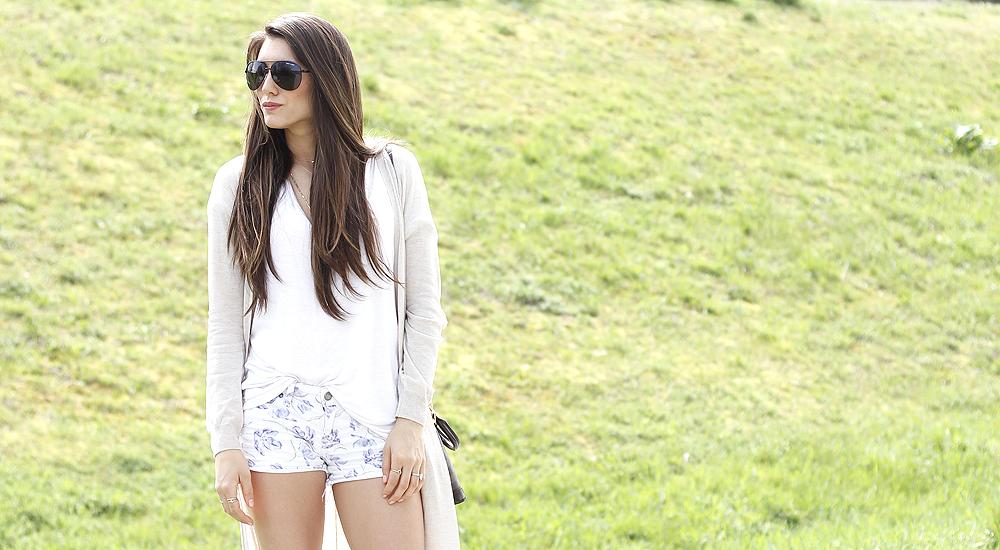 Patterned Denim Shorts