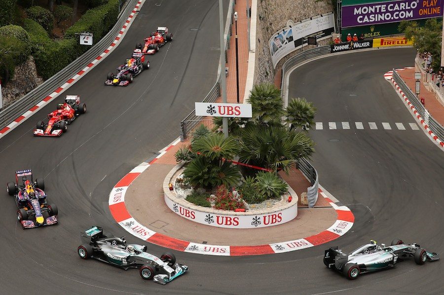 Nico Rosberg of Germany and Mercedes GP heads the field drives during the Monaco Formula One Grand Prix at Circuit de Monaco on May 25, 2014 in Monte-Carlo, Monaco. Photo by Julian Finney/Getty Images/Sky