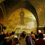 Eleventh Station: Catholic chapel on Calvary floor commemorates the nailing of Jesus to the cross (Seetheholyland.net)