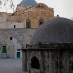 Dome of the Katholikon and dome of Chapel of St Helena (right), from roof of the Church of the Holy Sepulchre (Seetheholyland.net)