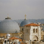 The domes and cropped bell tower of the Church of the Holy Sepulchre (Seetheholyland.net)
