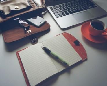 Clean Desk Coffee Laptop Notepad Bag