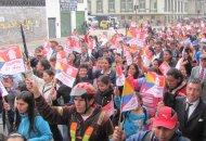 Marcha de afiliados a Cenaprov exigiendo solución al problema de vivienda. Foto Redacción Bogotá.