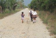 Niños deben caminar diariamente una o más horas para poder estudiar. Foto Kikyō.