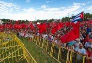 Aspecto de la imponente participación en la Fiesta de Avante. Foto Germán Guzmán Nogales.