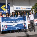 Trabajadores sindicalizados en mitin en la sede de Colsubsidio en Bogotá, en la calle 26. Foto J.C.H.