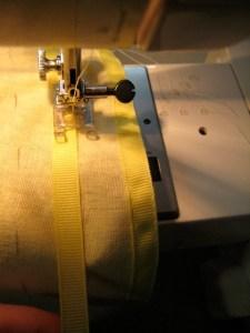 sewing down the hoop casings