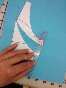 """Connect the new armscye corner with the 1/2"""" line to make a new underarm seam."""
