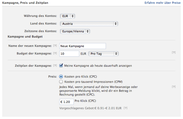 facebook Ads Kontoeinstellungen
