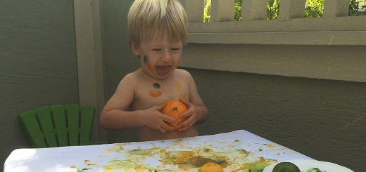 Josh painting with fruit