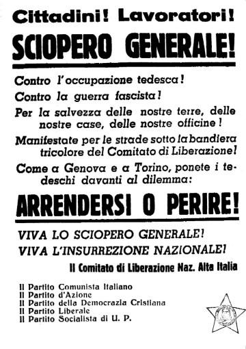 Volantino per lo sciopero insurrezionale del CLNAI