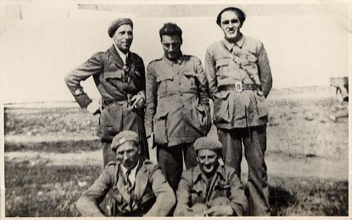 Comunisti italiani in Spagna. In alto, da sinistra, Albino Marvin, Ilio Barontini, Antonio Roasio; in basso, Romano Marvin e Anello Poma.