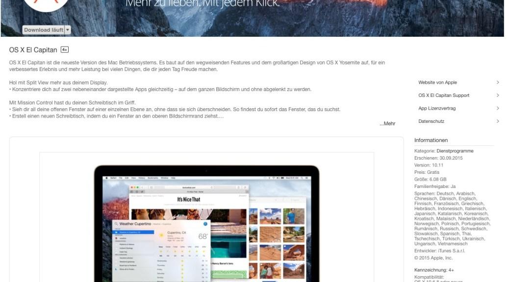 OS X El Capitan 10.11 ist da