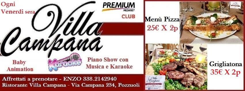 Ristorante Villa Campana Pozzuoli - Venerdi 12 Pizza Brace e Karaoke