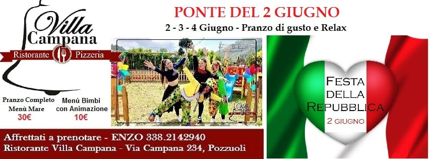 Villa Campana Pozzuoli - Venerdi 2 Giugno Menù Mare 30e