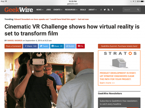 New at GeekWire: 'Cinematic VR Challenge shows how virtual reality is set to transform film'